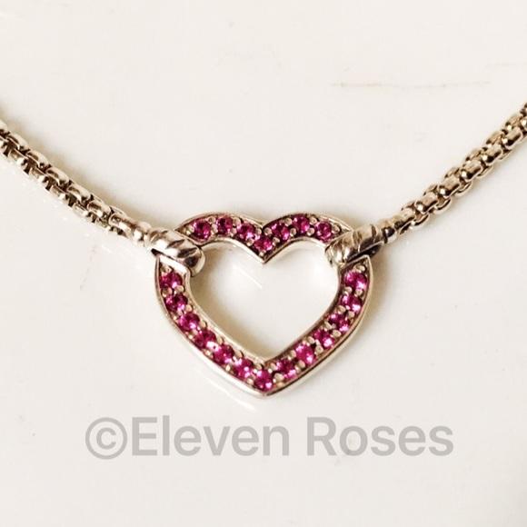 93d8fa98750a4 David Yurman Pink Sapphire Heart Station Necklace