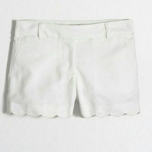 J. Crew Factory Pants - J.Crew Factory Scalloped Hem Shorts White Sz 2 NWT