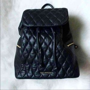Black Amy Quilted Leather Backpack Vera Bradley