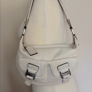 Michael kors white leather shoulder bag hobo