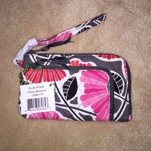 Vera Bradley Zip Zip Wristlet Cheery Blossoms