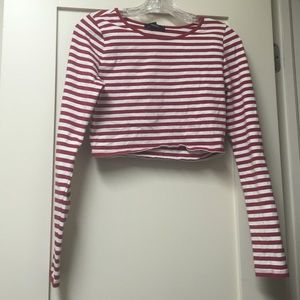 A red and white stripped crop top.
