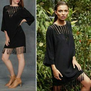 New acacia silk zambia crochet black coverup dress