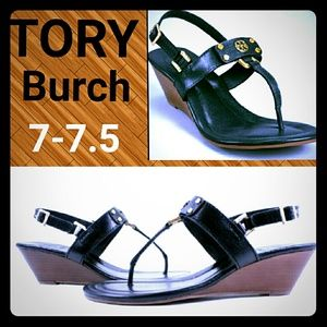 Like New -Tory Burch Cassia low Wedges 7/7.5