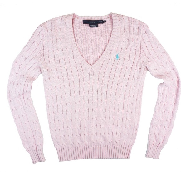 86% off Ralph Lauren Sweaters - RALPH LAUREN Light Pink Cable Knit ...