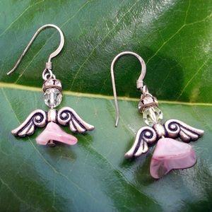 Jewelry - Pink angel dangle pierced earrings
