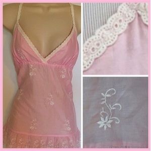 PJ Salvage Pink Embroidered Camisole/PJ Top, M