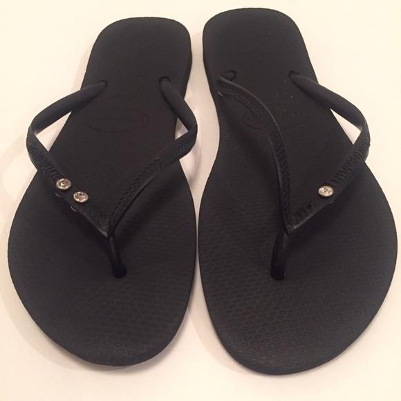 e6f48559a Havaianas Shoes - HAVAIANAS  SLIM  BLACK W Rhinestones ...