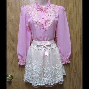 Dresses & Skirts - Divine Ivory Embroidered Skirt W/Ribbon Belt