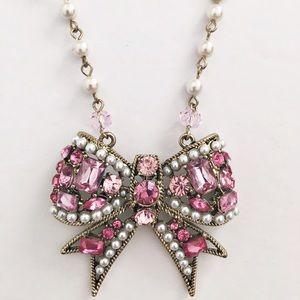 Betsey Johnson Jewelry - Betsey Johnson pink rhinestone bow necklace