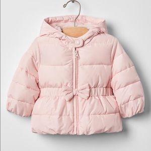 Baby Gap pink peplum bow puffer coat sz 18-24 mths