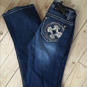 Boutique cello embellished boot cut cowgirl jeans