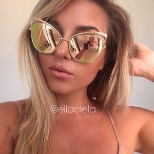 Cateye Mirror Sunglasses Gold Pink