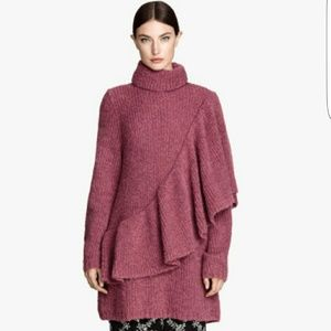 H&M ruffle turtleneck sweater dress