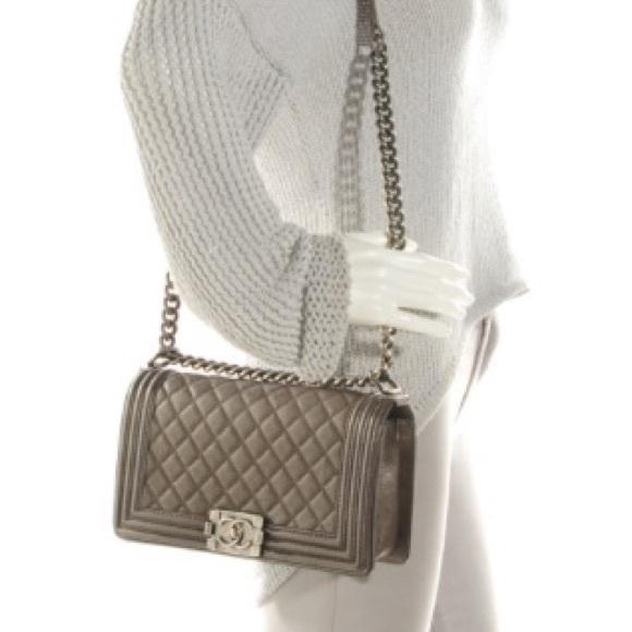 2ba2764a3c2a31 Chanel Bags | Sold Metallic Perforated Medium Boy Bag | Poshmark