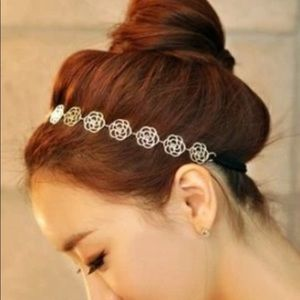 Accessories - Rose headband metal flowers elastic band for hair