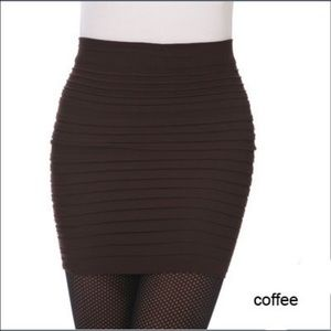 ⚡️✂️SALE Brown pleated stretch bodycon skirt
