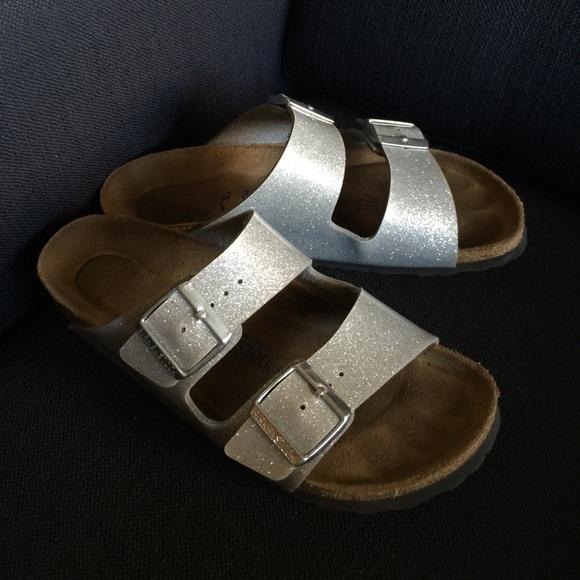 2ed662bef95 Birkenstock Shoes - Birkenstock Arizona Sandals Magic Galaxy Silver 38