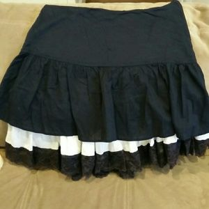 Free people black skirt with lace detail