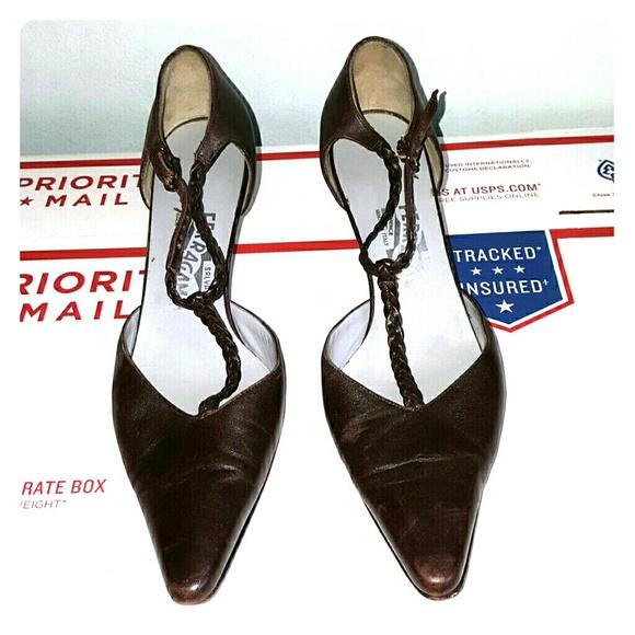 78f04ef98c6 Salvatore Ferragamo braided T-strap kitten heel. M 579a3e099c6fcfe79f006872
