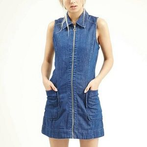 Topshop Dresses & Skirts - Topshop moto denim zip front  dress