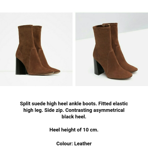zara sold zara brown leather high heel ankle boot from