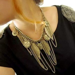 Jewelry - Gold Tone Feather, Coin & Chain Boho Statement