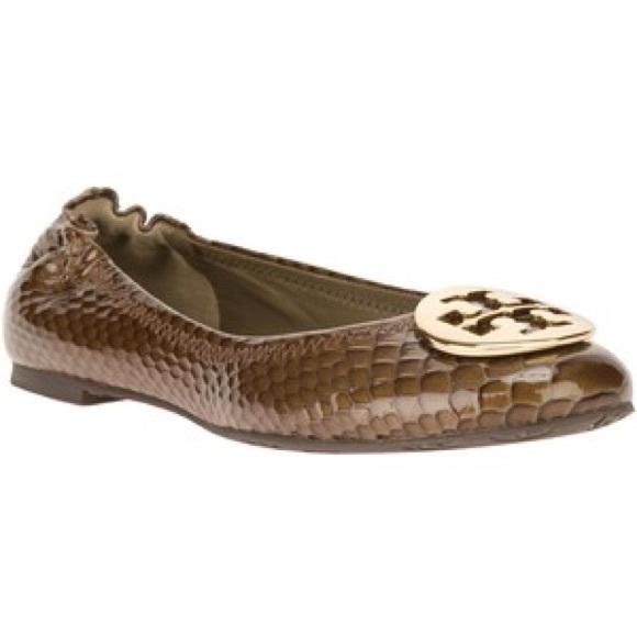 64ca88d03a22 FINAL SALE Tory Burch Reva Croc Print Ballet Flats.  M 579a4f345c12f83a5e024170