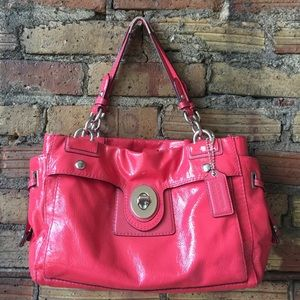 COACH Peyton Patent Leather Coral Satchel