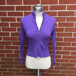 Anthropologie Sweaters - Purple Ribbed Zip Up