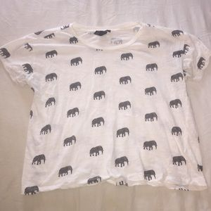 Forever 21 Tops - Elephant Print Crop T-Shirt