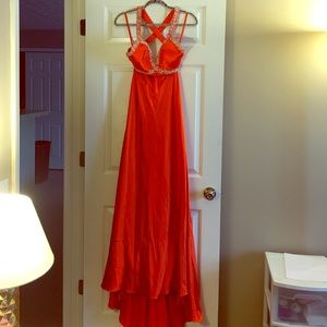 Bella Rene Dresses & Skirts - Orange rhinestone dress perfect for prom!