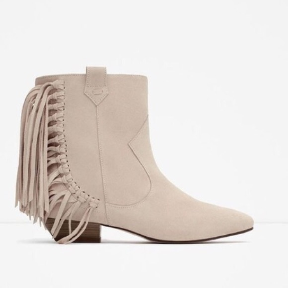 many fashionable get new offer discounts HP ZARA Nude Tan & Fringe Tassel Ankle Boots NWT