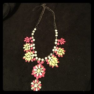 Fuschia & neon yellow statement necklace