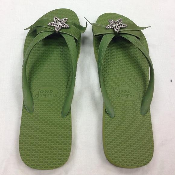 27e3f46d222e4 Green Jamie Kreitman flip flops SZ Large