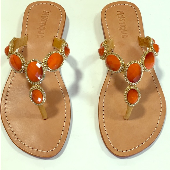 f771cf3b91cb3a Orange jeweled sandals with leather sole NWT