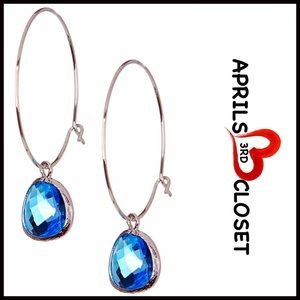 Boutique Jewelry - ❗1-HOUR SALE❗STERLING SILVER JEWELED HOOP EARRINGS