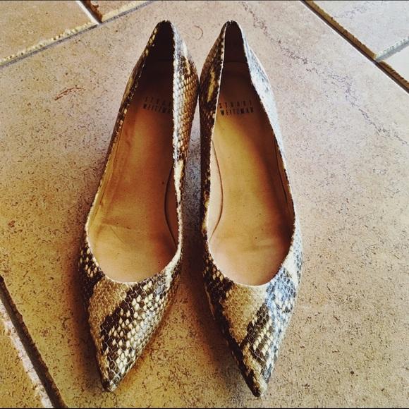 limited edition online cheap shop offer Stuart Weitzman Python Pointed-Toe Flats authentic sale online 0Urcrwnwa