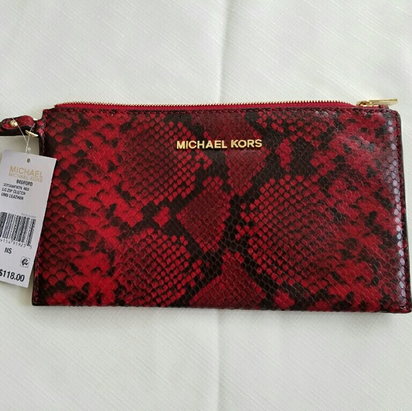 22254cc953427 MICHAEL KORS Bedford Python-Embossed Leather