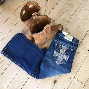 Boot cut boutique embellished jeans