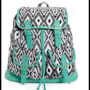 Handbags - Black and White w Mint Trim Rucksack Backpack