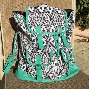 Handbags - School, Gym, Travel.  Black and White w Mint Trim.