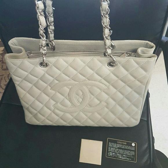Chanel Bags   Sold On Ebay Gst Tote Light Grey Caviar Shw   Poshmark 8b521c3821