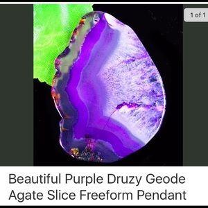 Freeform purple agate slice druzy pendant.