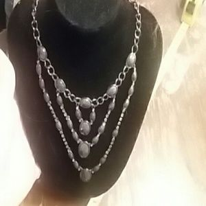 Gunmetal bib necklace