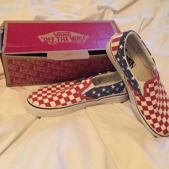 ae730a198d93d6 Vans American Flag Classic Slip-Ons. M 579a9df641b4e0ba790122d2