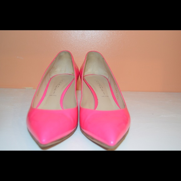 Casadei Hot Pink Low Chunky Heels