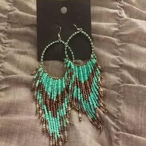 H&M teal and brown beaded earrings