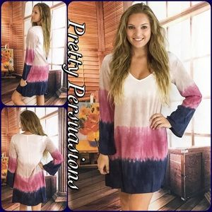 Pretty Persuasions Dresses & Skirts - SALE 🎉Navy Combo Tie Dyed Long Sleeve Shift Dress