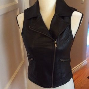 Black faux leather vest